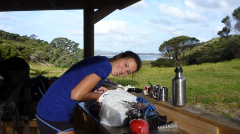 Curniss making dinner at the Pandora Bay campground