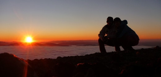 Chris and Curniss on the summit of Mount Ngauruhoe