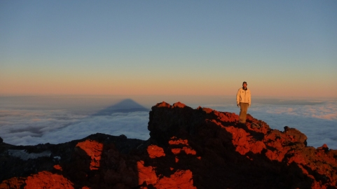 Chris on the summit of Mount Ngauruhoe at sunride