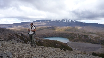 Chris is so happy to be away from the crowds of the Tongariro Alpine Crossing