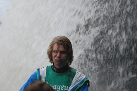 Marty decided he wanted to go under the waterfall