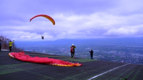 Paragliders on the Salève Mountain