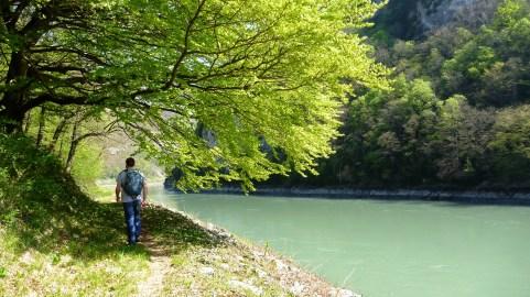 Garrin walking along La Rivière du Rhône