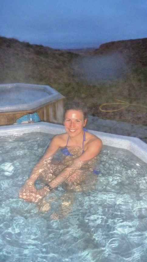 Curniss enjoying the home-made geothermal hot pool