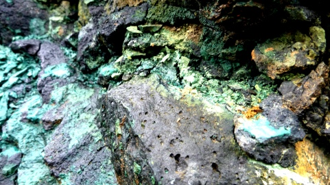 Colourful volcanic rock