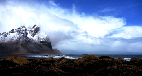 Black sand dunes by the Vesturhorn mountains