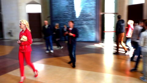 The woman in red (in La Sagrada Familia)