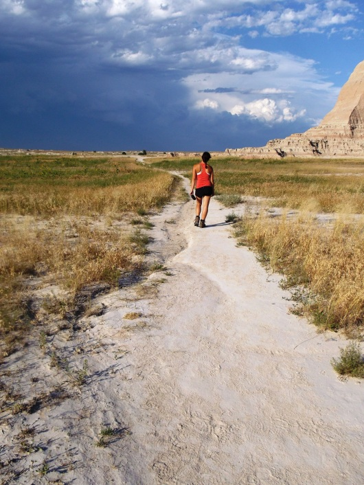 Curniss walking in the Badlands National Park