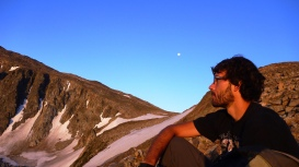 Chris taking in the view while hiking, Bighorn Mountains