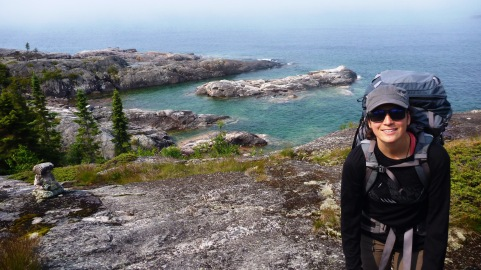 Curniss hiking the Pukaskwa Coastal Trail