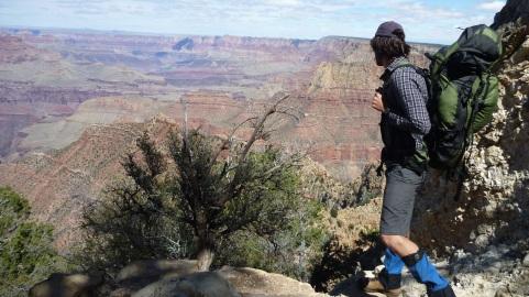 Chris hiking down the Grandview Trail