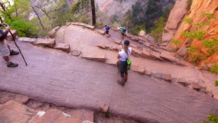 Paved switchbacks of the Angel's Landing Trail