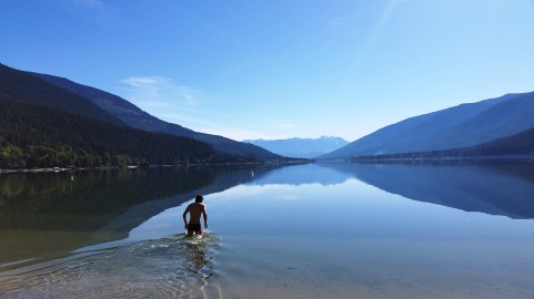 Chris going for a morning swim in Lake Kootenay