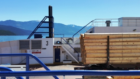 Taking the free ferry across from Nelson to Kootenay Bay