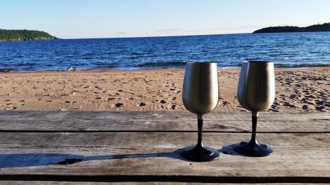 Enjoying wine with the sunset at Gargantua Harbour