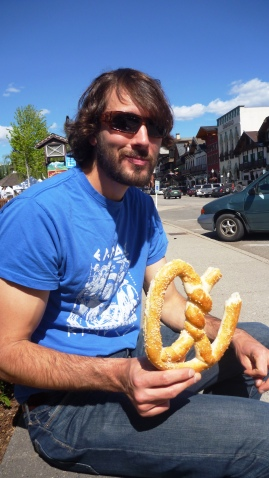 Chris with his pretzel in Leavenworth