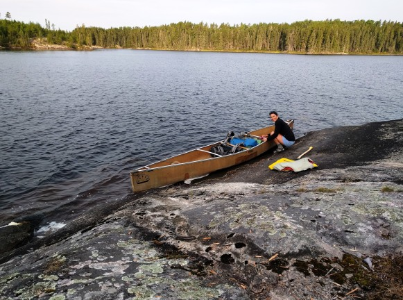 Curniss loading the canoe on day two