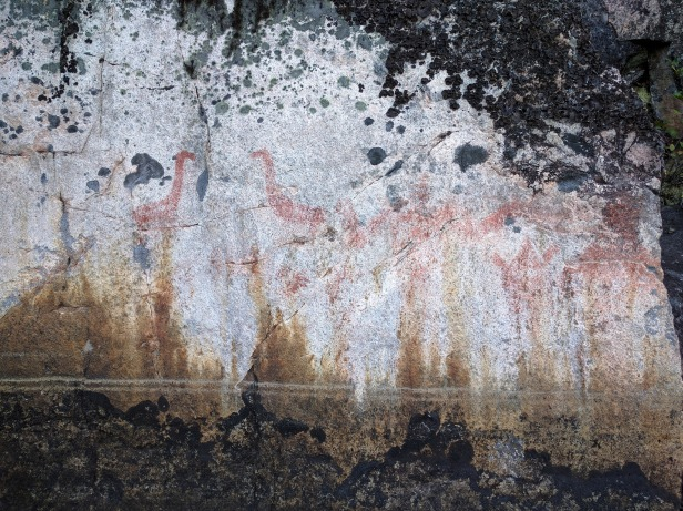 Pictographs we spotted on Moberley Lake