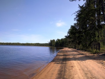 A sheltered beach on little Metionga Lake