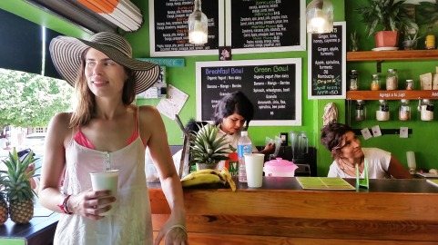 Kristen at the Orangy juice bar