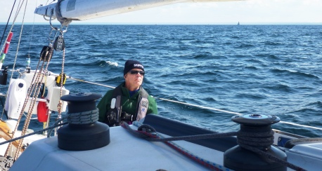 Skipper Bob at the helm