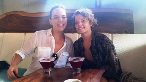 "Delicious hibiscus margarita at Barrio Cafe with ""the Sisters"" on Jane's birthday"