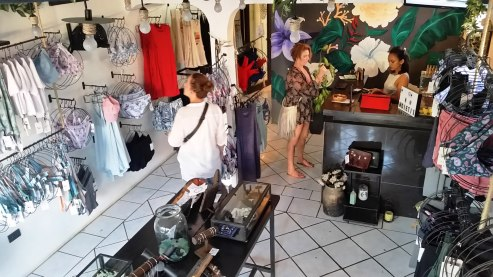 Checking out shops in San Juan Del Sur