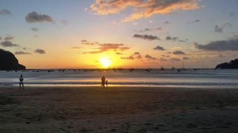 Enjoying the sunset from a beach restaurant