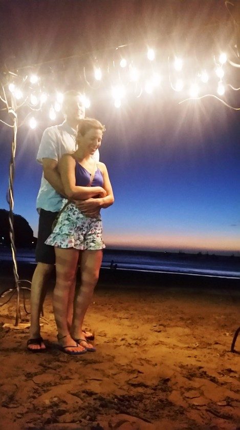 Posing under some lights at the beach in San Juan Del Sur