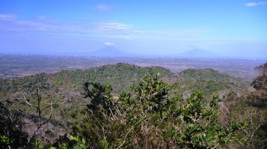 View of Ometepe in the distance from zip-lining